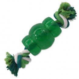 Hračka Dog Fantasy STRONG MINT soudek guma s provazem zelený 9,5cm