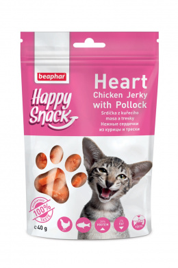 Pochoutka Happy Snack Cat srdíčka z kuřecího masa a tresky 40g
