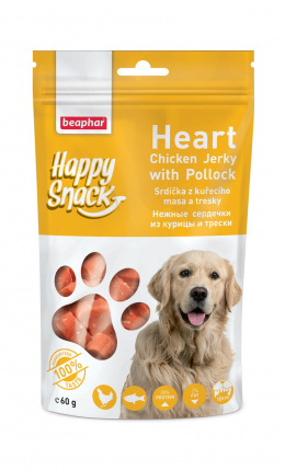 Pochoutka Happy Snack Dog srdíčka z kuřecího masa a tresky 60g