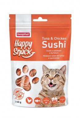 Pochoutka Happy Snack Cat sushi s tuňákem a kuřetem 40g