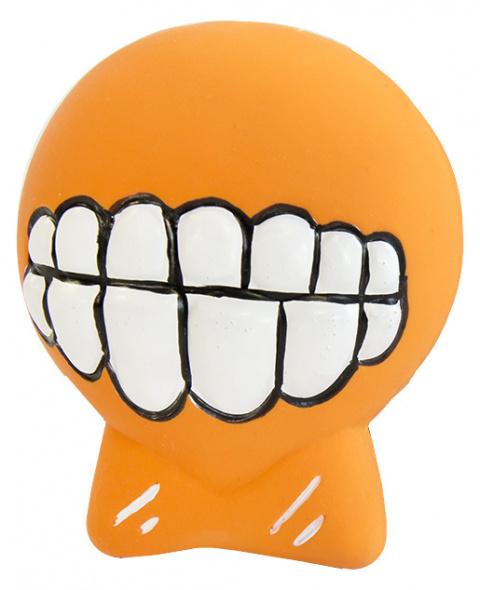 Hračka Dog Fantasy Latex Zuby se zvukem oranžová 7cm