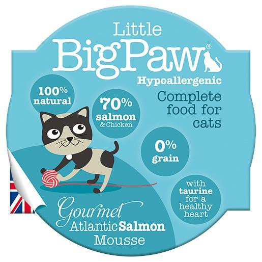 Kalíšek pro kočky Little Big Paw losos & kuře 85g