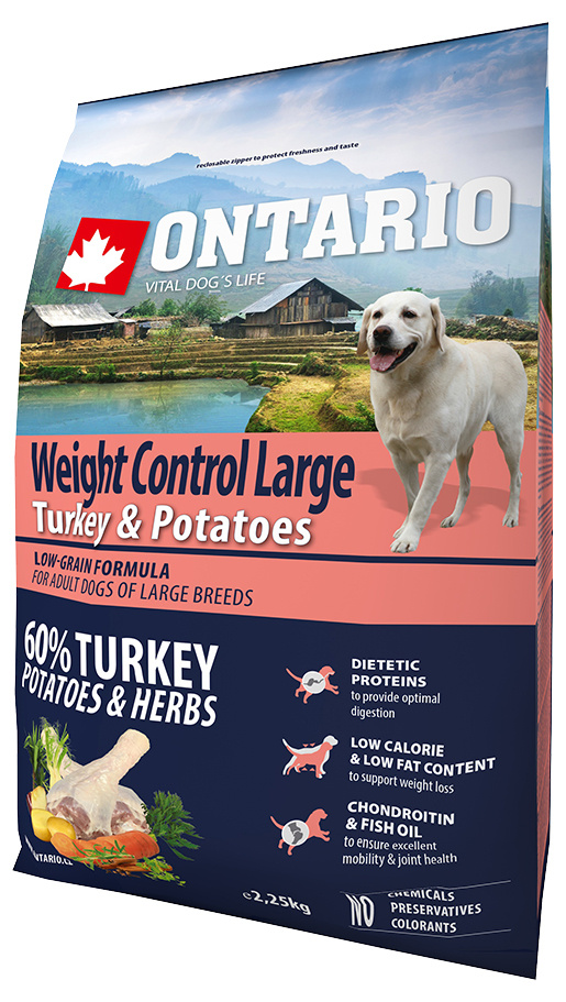 Ontario Large Weight Control Turkey & Potatoes 2,25kg