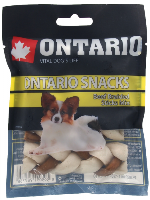 Ontario Rawhide Snack Braided Stick Mix 7,5 cm 4 ks