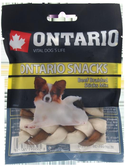 Ontario Rawhide Snack Braided Stick Mix 7,5cm 4 ks