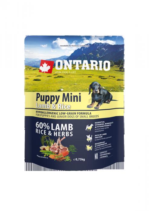 Ontario Puppy Mini Lamb & Rice 0,75 kg