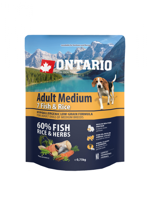 Ontario Adult Medium Fish & Rice 0,75 kg