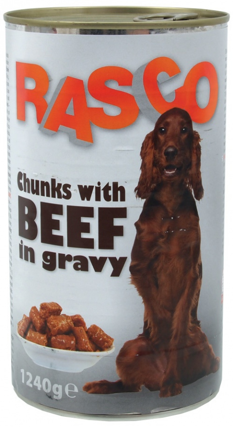 Konzerva RASCO Dog hovězí kousky ve šťávě 1240g title=