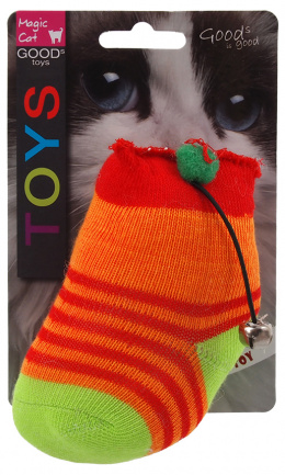 Hračka MAGIC CAT ponožka neonová s rolničkou a catnipem 11cm