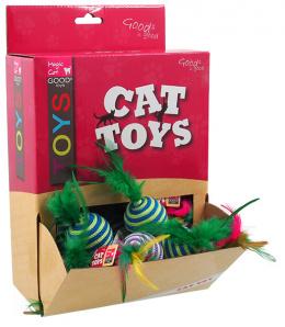 Hračka Magic Cat míček s pruhy a pírky bavlna 4,5cm