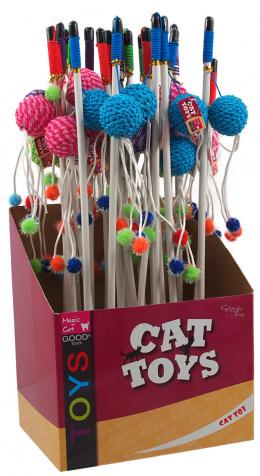 Hračka Magic Cat šidítko míček s pírky bavlna 9cm+46cm