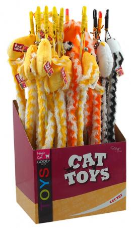 Hračka Magic Cat šidítko myška bavlna s catnip 22cm+45cm 24ks