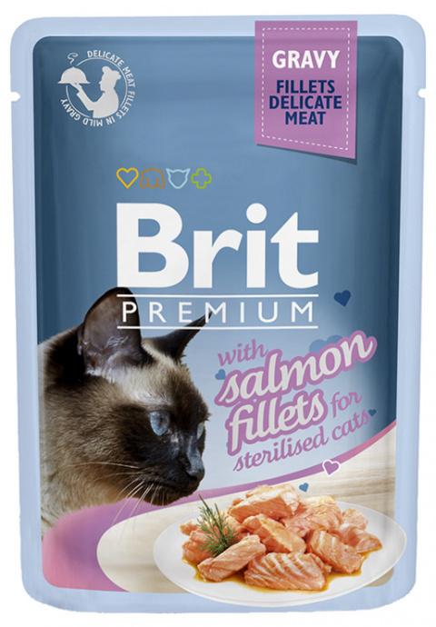 Kapsička Brit Premium Cat Delicate Fillets Salmon pro kastrované kočky 85g title=
