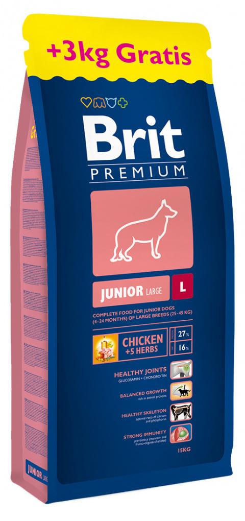 Brit Premium Junior L 15 kg + 3kg