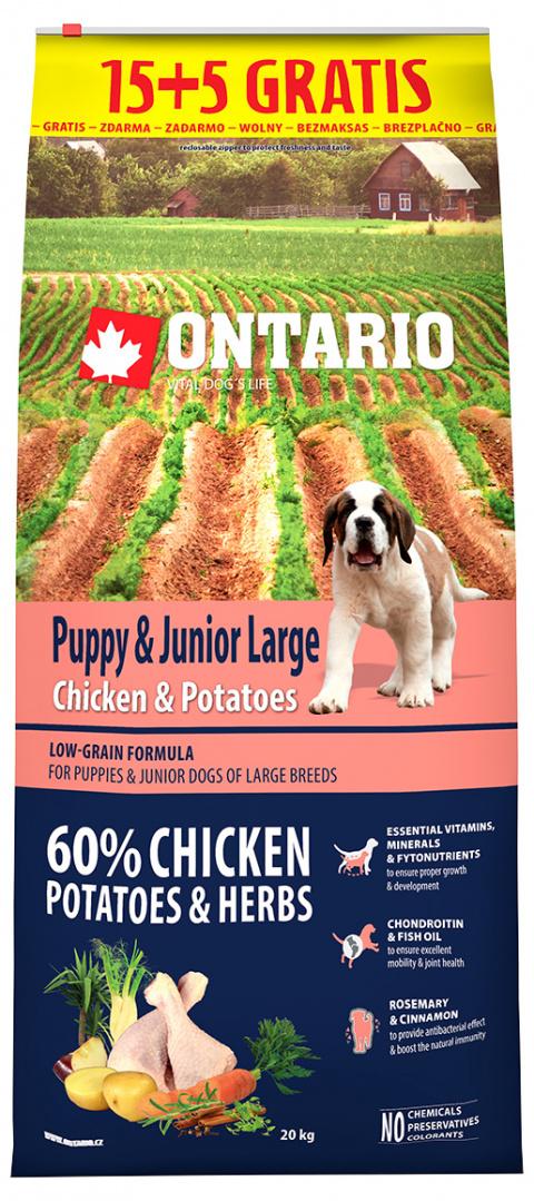 Ontario Puppy & Junior Large Chicken & Potatoes 15+5 kg zdarma title=