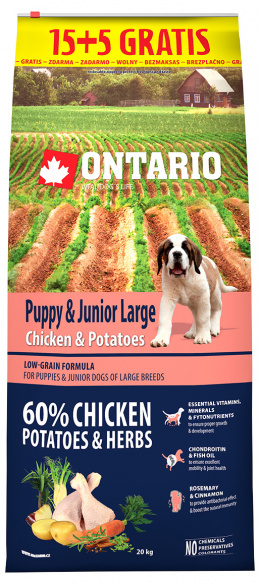Ontario Puppy & Junior Large Chicken & Potatoes 15+5 kg zdarma