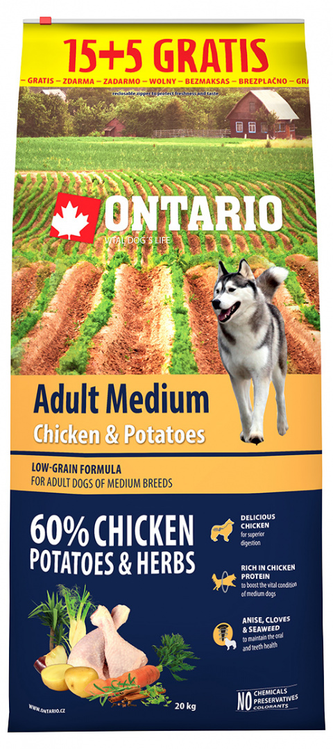 Ontario Adult Medium Chicken & Potatoes 15+5 kg zdarma