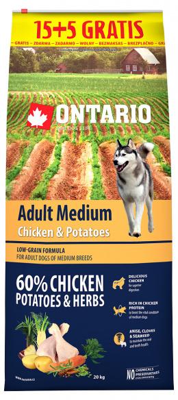 Ontario Adult Medium Chicken & Potatoes 15+5kg zdarma