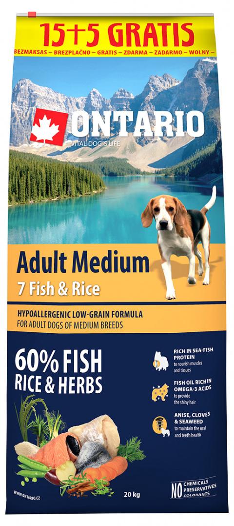 Ontario Adult Medium Fish & Rice 15+5 kg title=