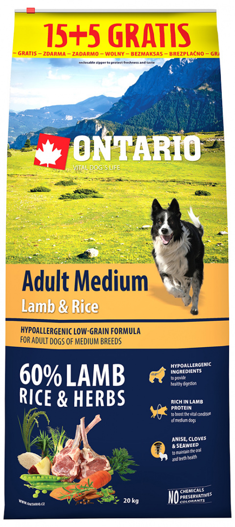 Ontario Adult Medium Lamb & Rice 15+5 kg zdarma