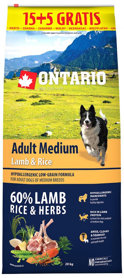 Ontario Adult Medium Lamb & Rice 15+5 kg zdarma title=