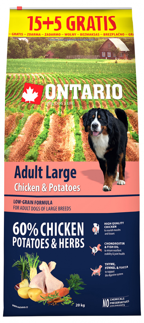 Ontario Adult Large Chicken & Potatoes 15+5 kg zdarma title=