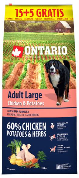 Ontario Adult Large Chicken & Potatoes 15+5kg zdarma