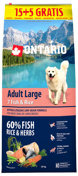 Ontario Adult Large Fish & Rice 15+5kg zdarma