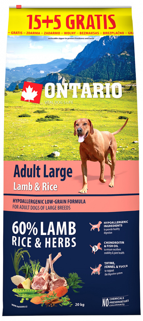 Ontario Adult Large Lamb & Rice 15+5 kg zdarma title=