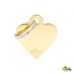 Známka My Family Basic srdce malé zlaté mosaz