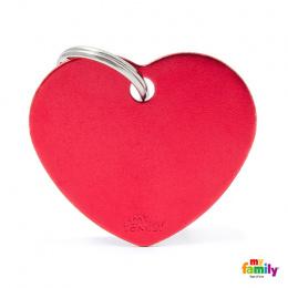 Známka My Family Basic srdce velká červená