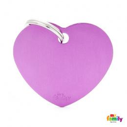 Známka My Family Basic srdce velká fialová