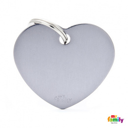 Známka My Family Basic srdce velká šedá