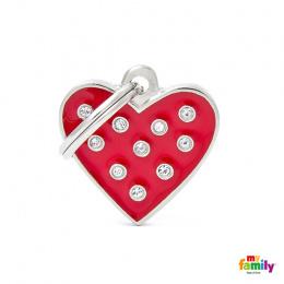 Známka My Family Chic Swarovski srdce červená