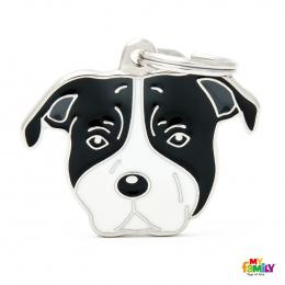 Známka My Family Friends Staffordshire Terrier černobílý