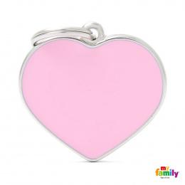 Známka My Family Basic Handmade srdce velké růžové