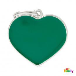 Známka My Family Basic Handmade srdce velké zelené