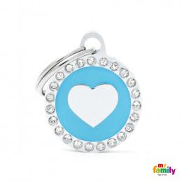 Známka My Family Glam srdce kulatá světle modrá