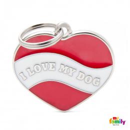 Známka My Family Charms srdce I LOVE MY DOG