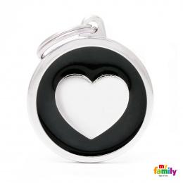 Známka My Family Classic kolečko se srdcem velké černé