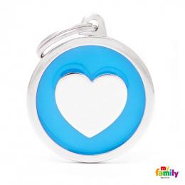 Známka My Family Classic kolečko se srdcem světle modré