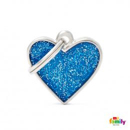 Známka My Family Shine srdce modrá