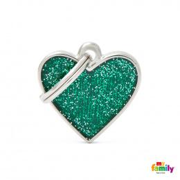 Známka My Family Shine srdce zelená