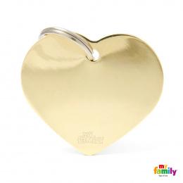 Známka My Family Basic srdce velká zlatá mosaz