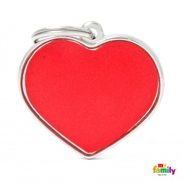 Známka My Family Reflective srdce velká červená