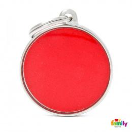 Známka My Family Reflective kulatá velká červená