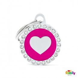 Známka My Family Glam srdce kulatá růžová