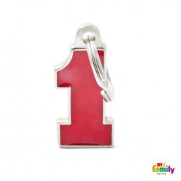 Známka My Family Charms Number One červená