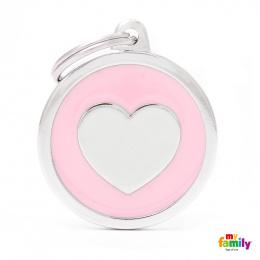 Známka My Family Classic kolečko se srdcem velké růžové