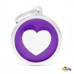 Známka My Family Classic kolečko se srdcem velké fialové